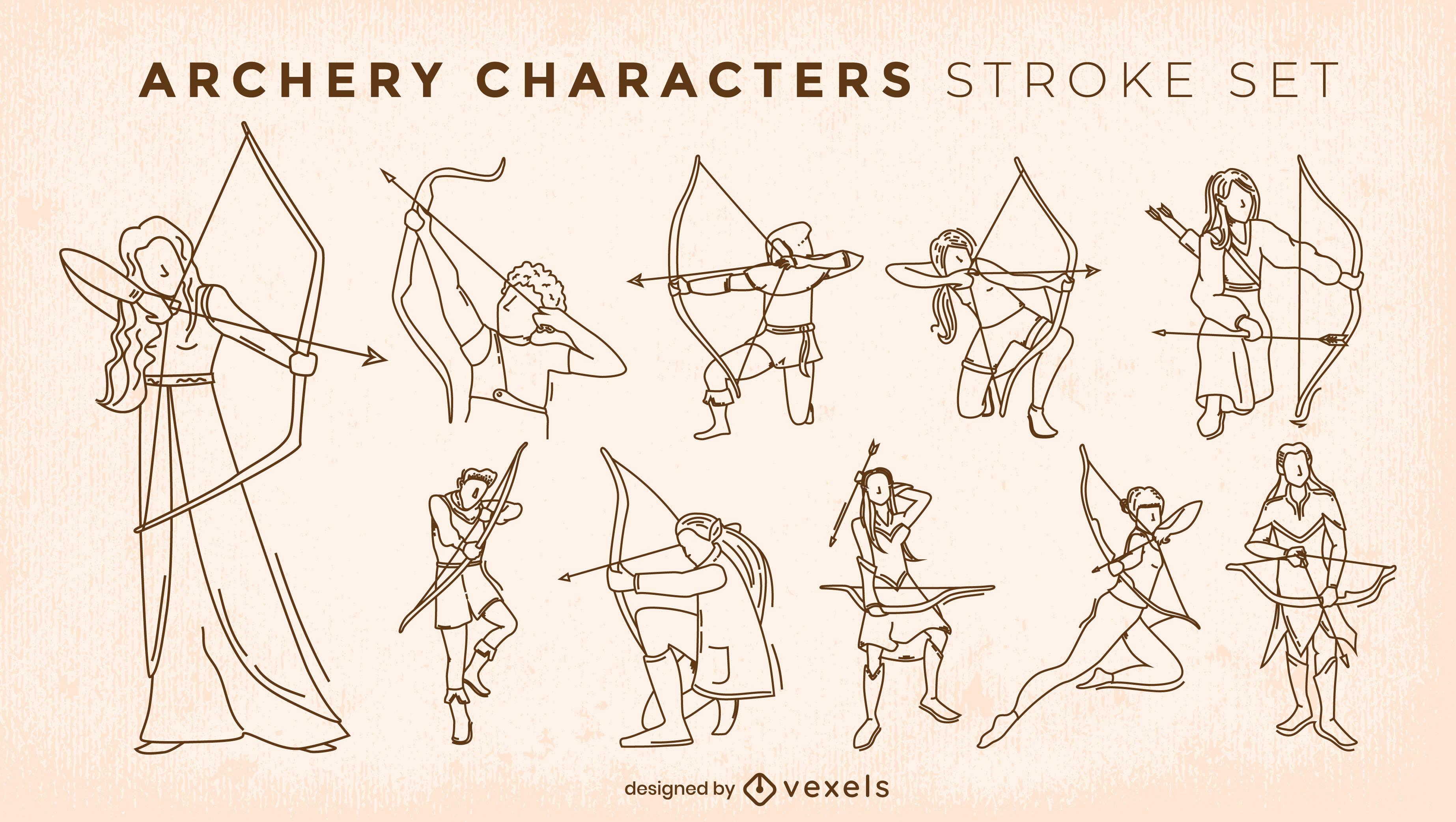 Archery sport medieval character stroke set
