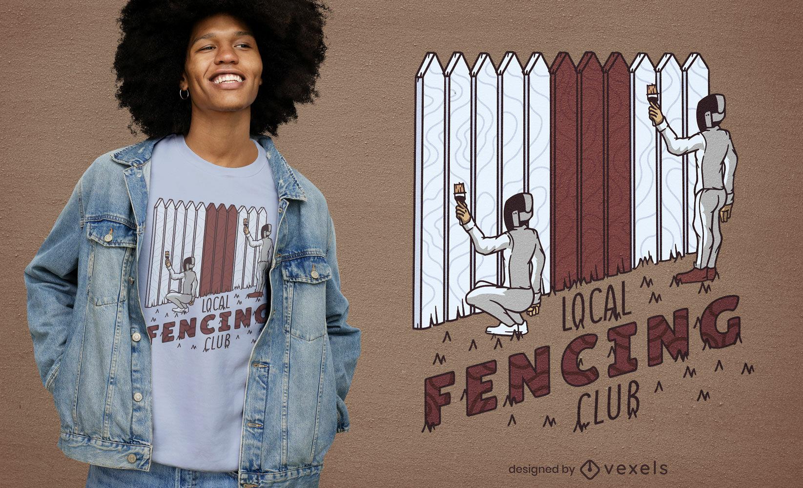 Design engraçado de t-shirt de esgrima