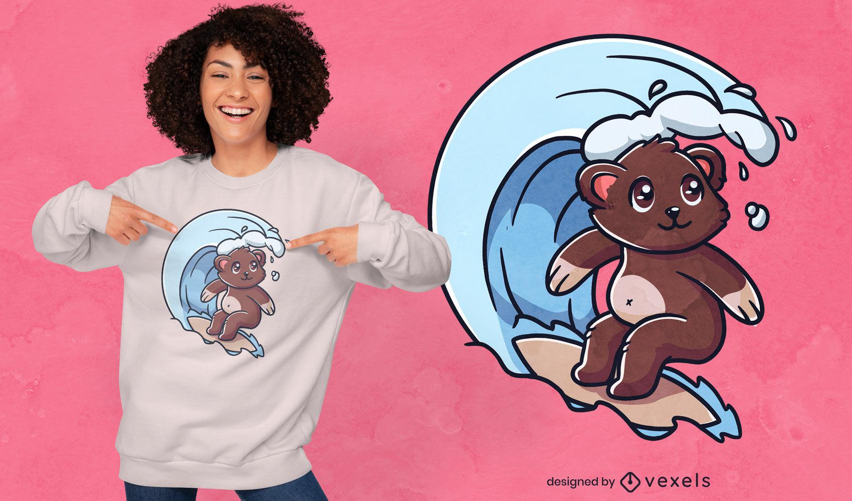 Design de t-shirt de urso surfista fofo
