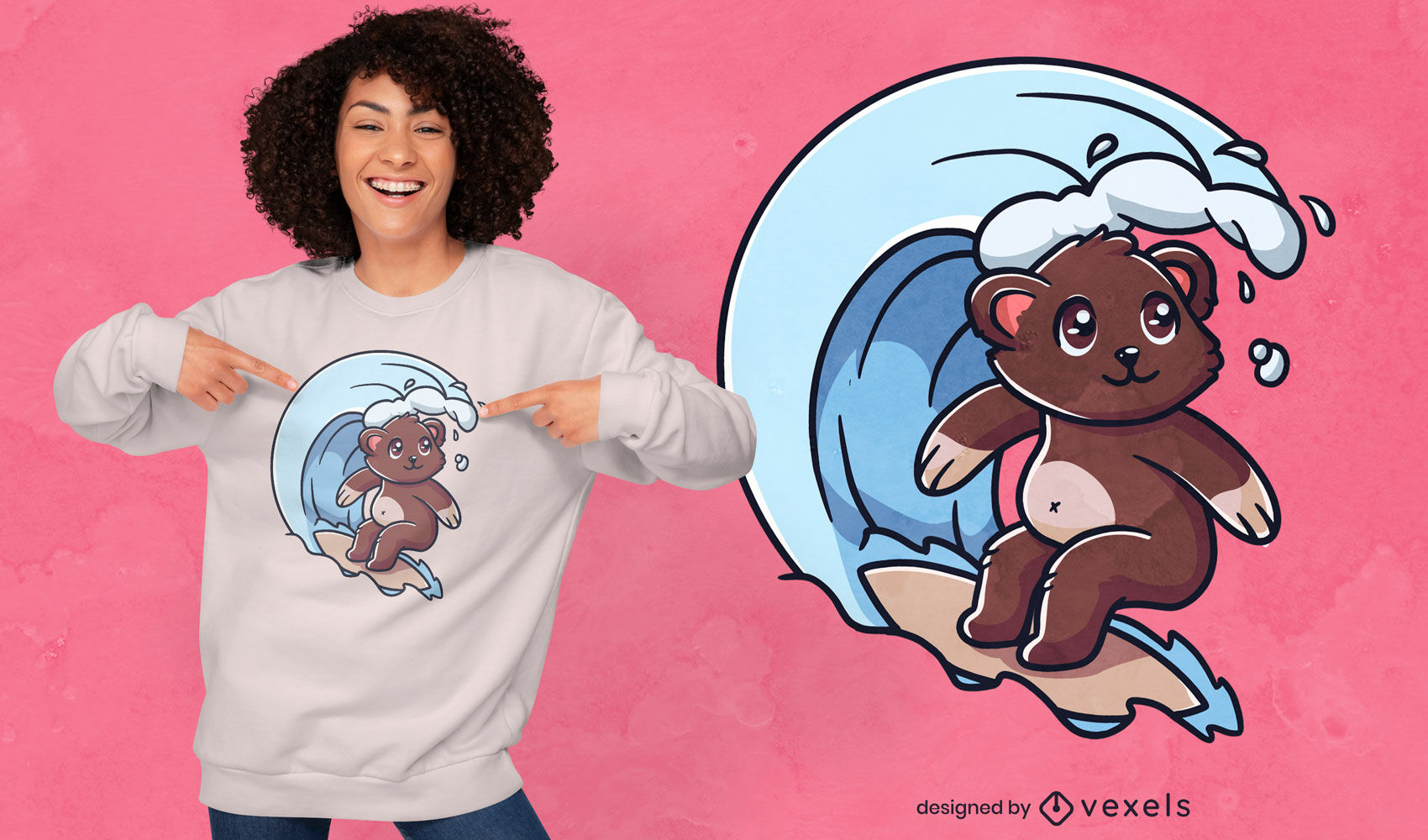 Lindo diseño de camiseta de oso surf