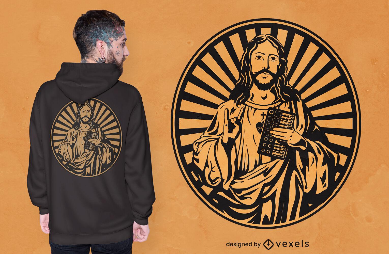 Jesús con diseño de camiseta de sintetizador.