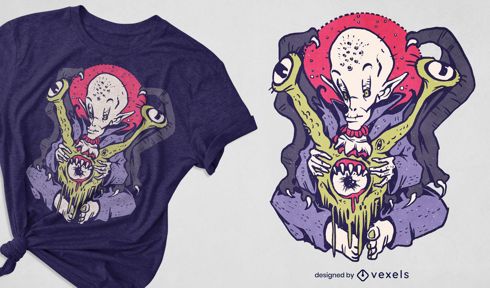 Diseño de camiseta vampiro alien monster