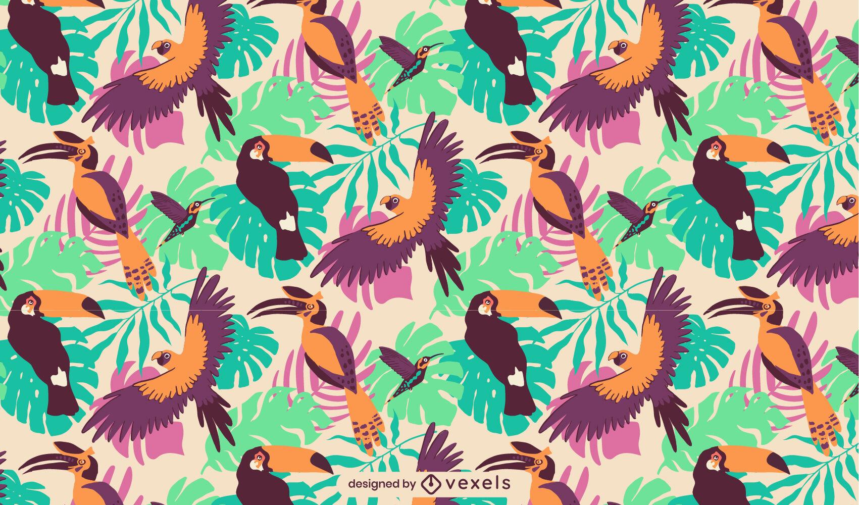 Projeto de padrão tropical de pássaros tucanos
