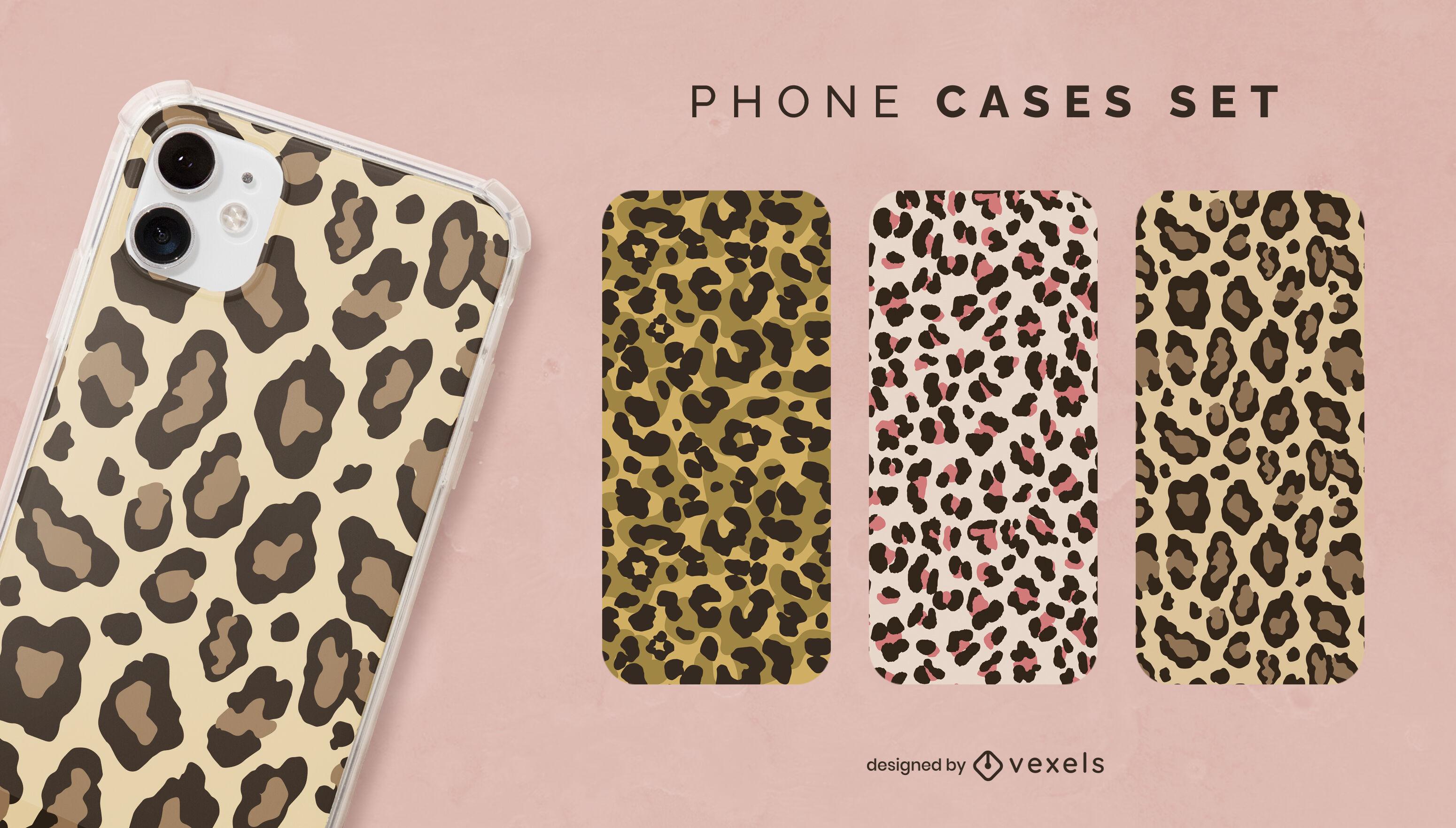 Juego de fundas para móvil con estampado de leopardo de animales salvajes