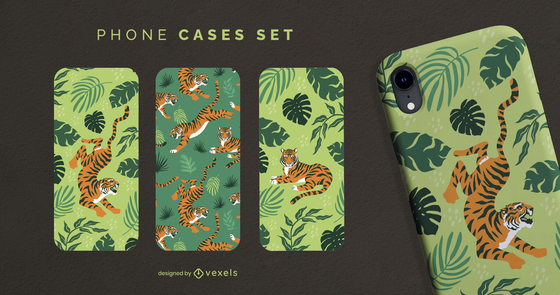 Conjunto de caja de teléfono de naturaleza animal salvaje tigre