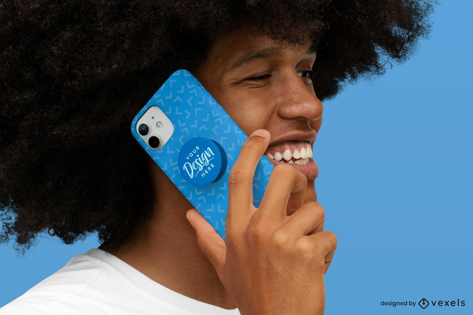 Happy model holding phone case mockup