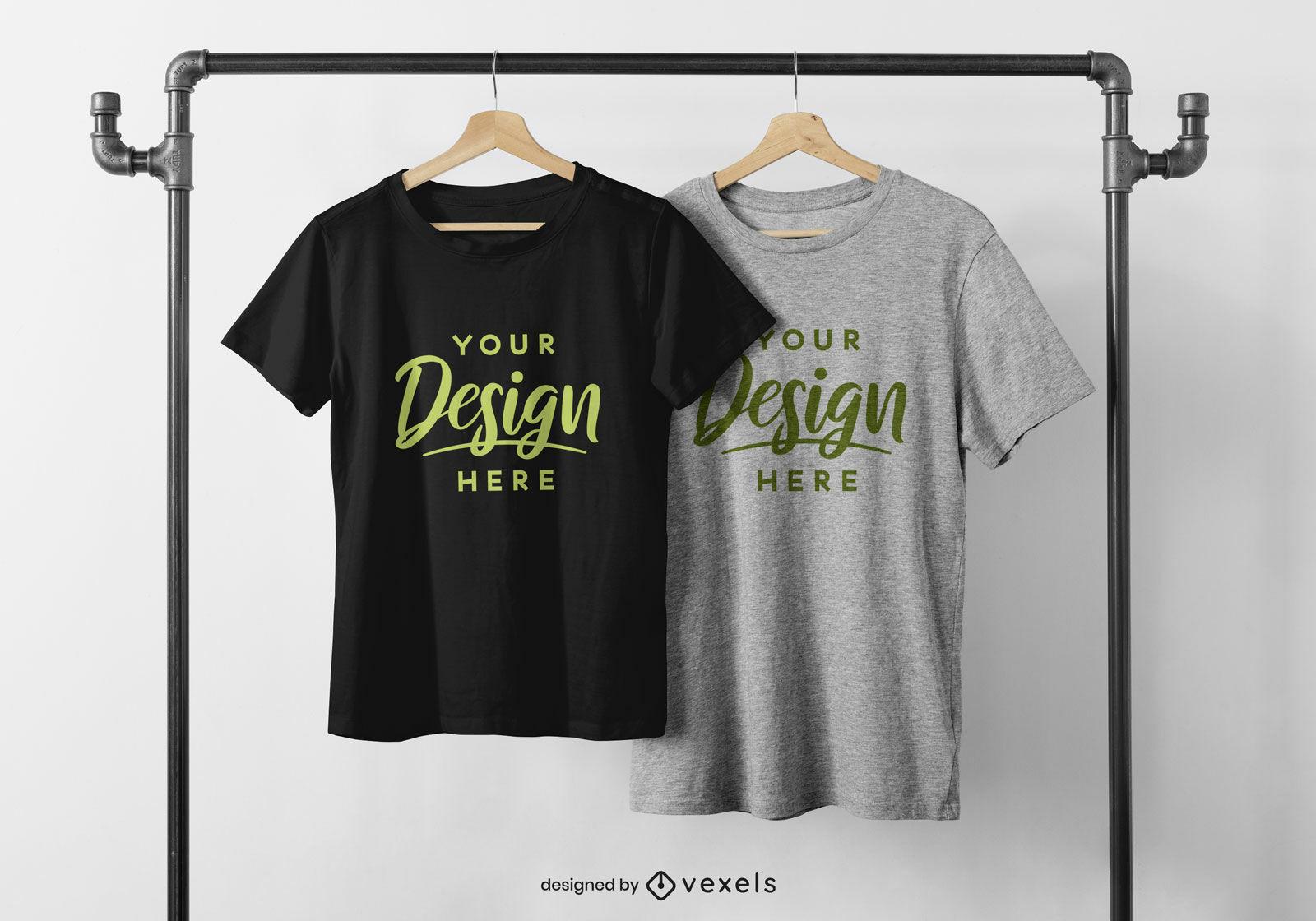 T-shirts em maquete de cabide