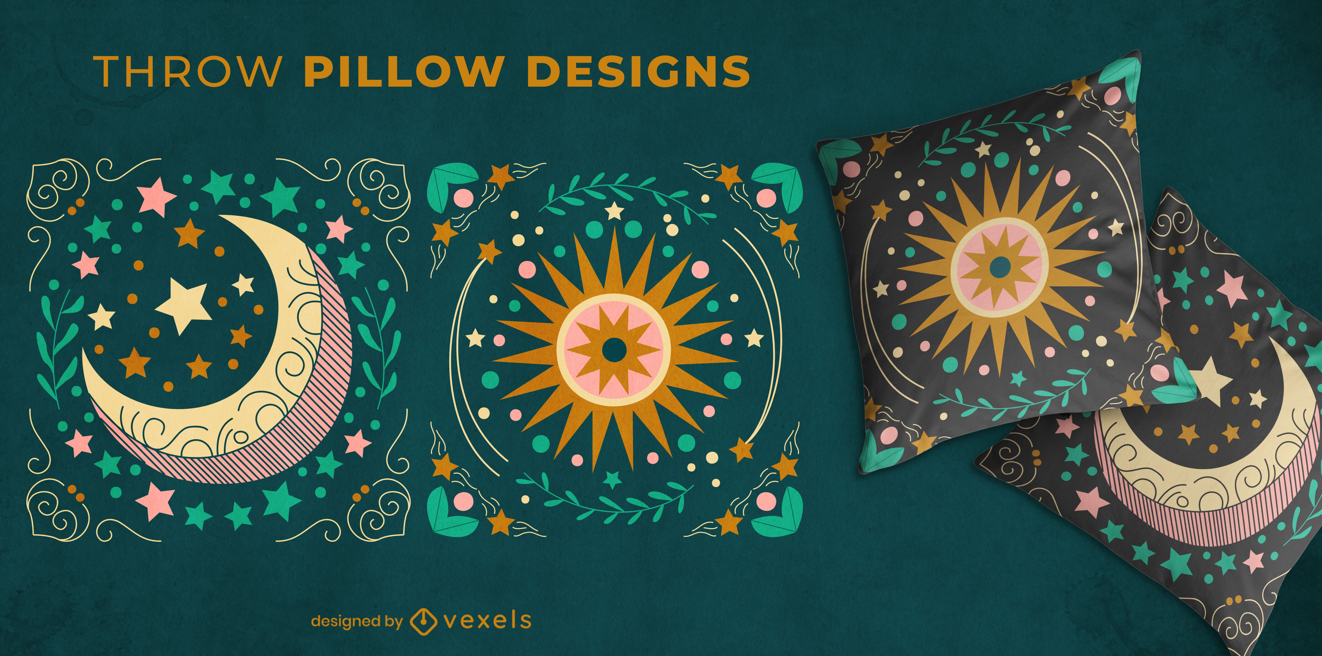 Projeto de travesseiro decorativo da natureza da lua e do sol