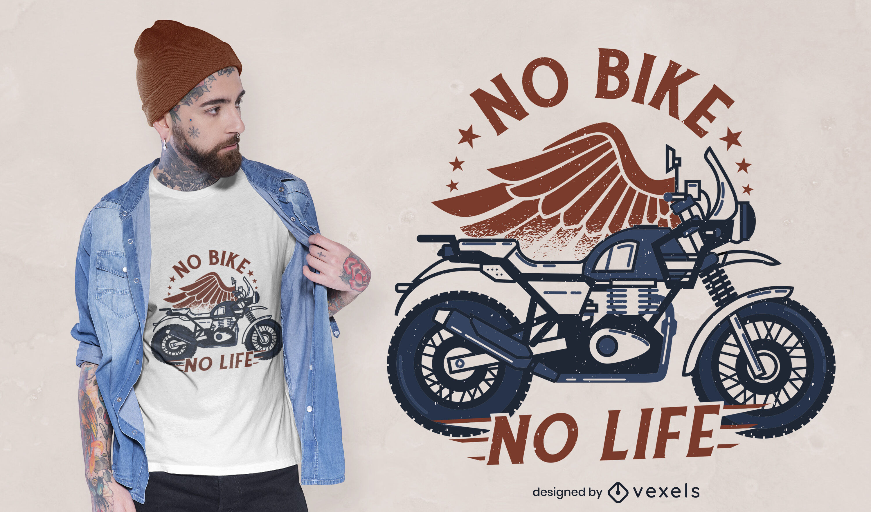 Motorcycle with wings t-shirt design