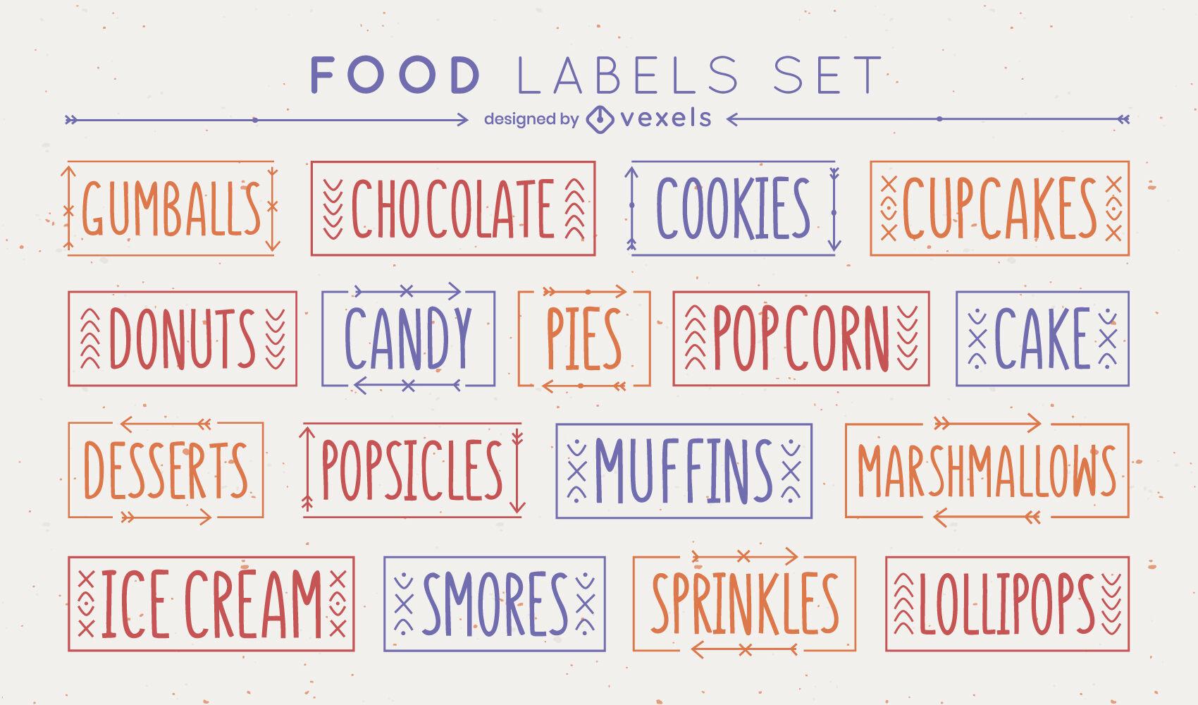 Conjunto de etiquetas de postres deliciosos de alimentos dulces