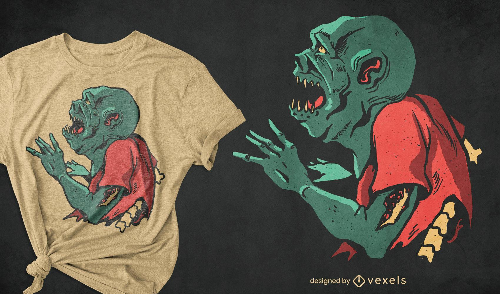 Design de camiseta assustadora com monstro verde zumbi