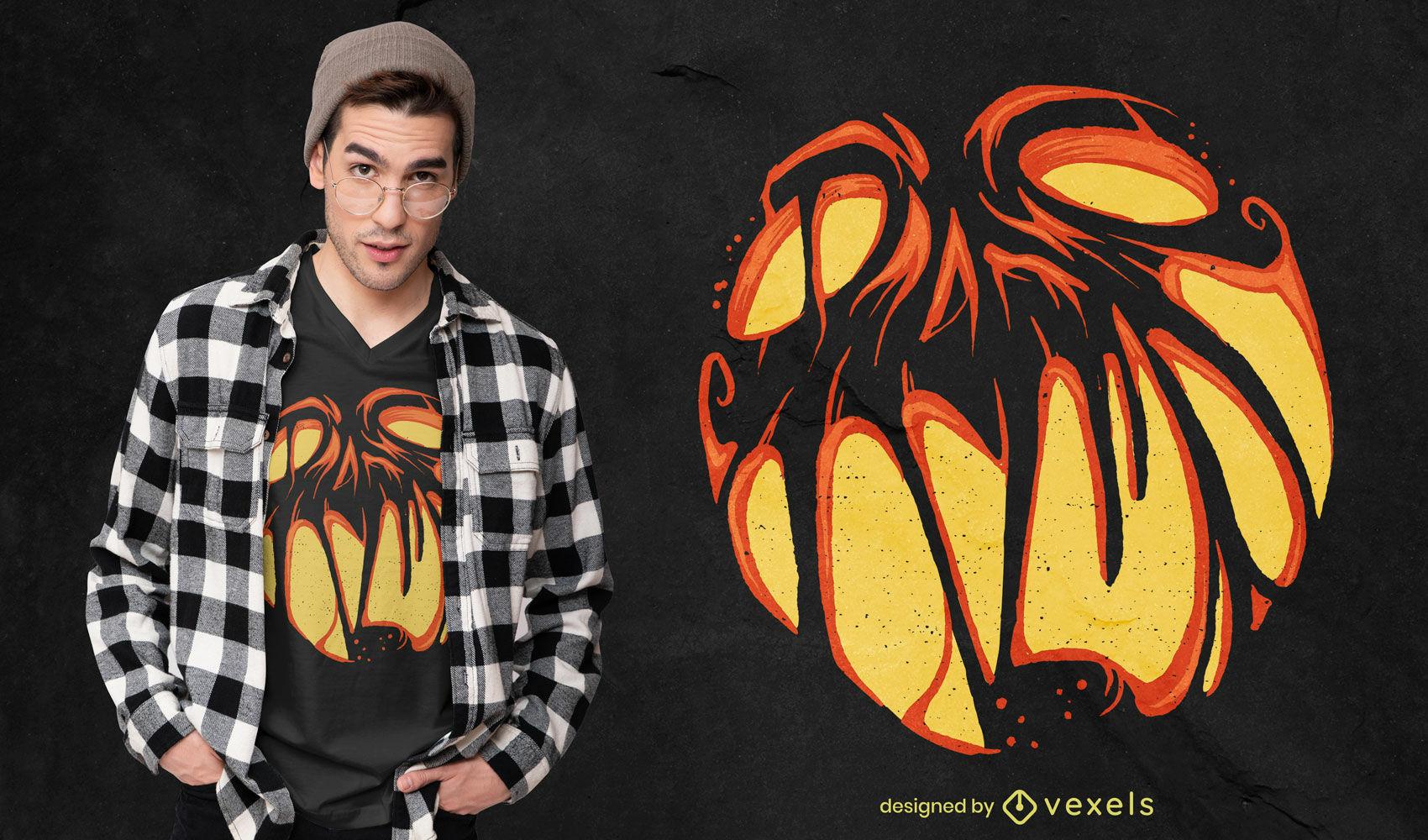Design de t-shirt com ab?bora de Halloween de Jack o'Lantern