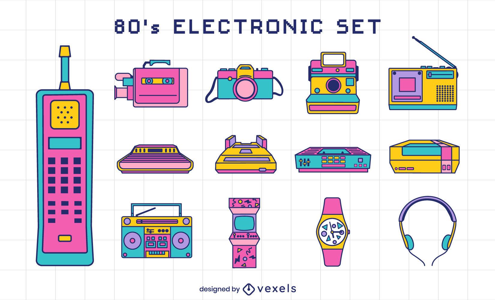 Conjunto de elementos retro de dispositivos electrónicos de los 80.