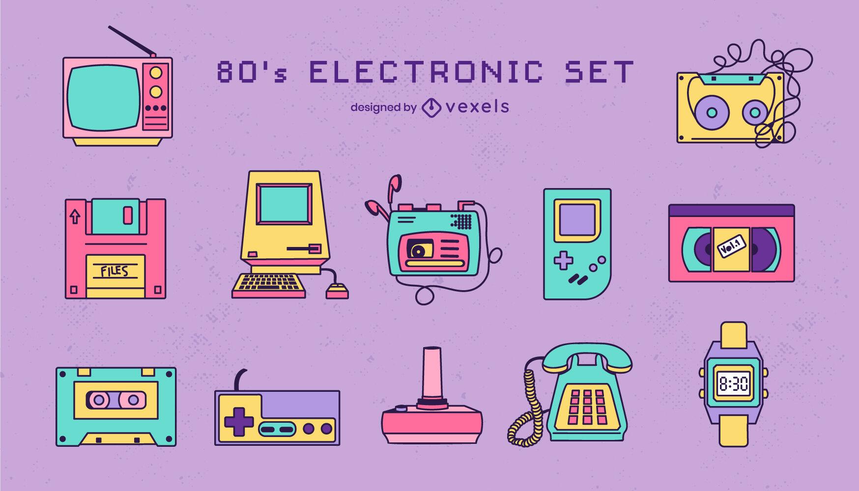 Conjunto de tecnología retro de dispositivos electrónicos.