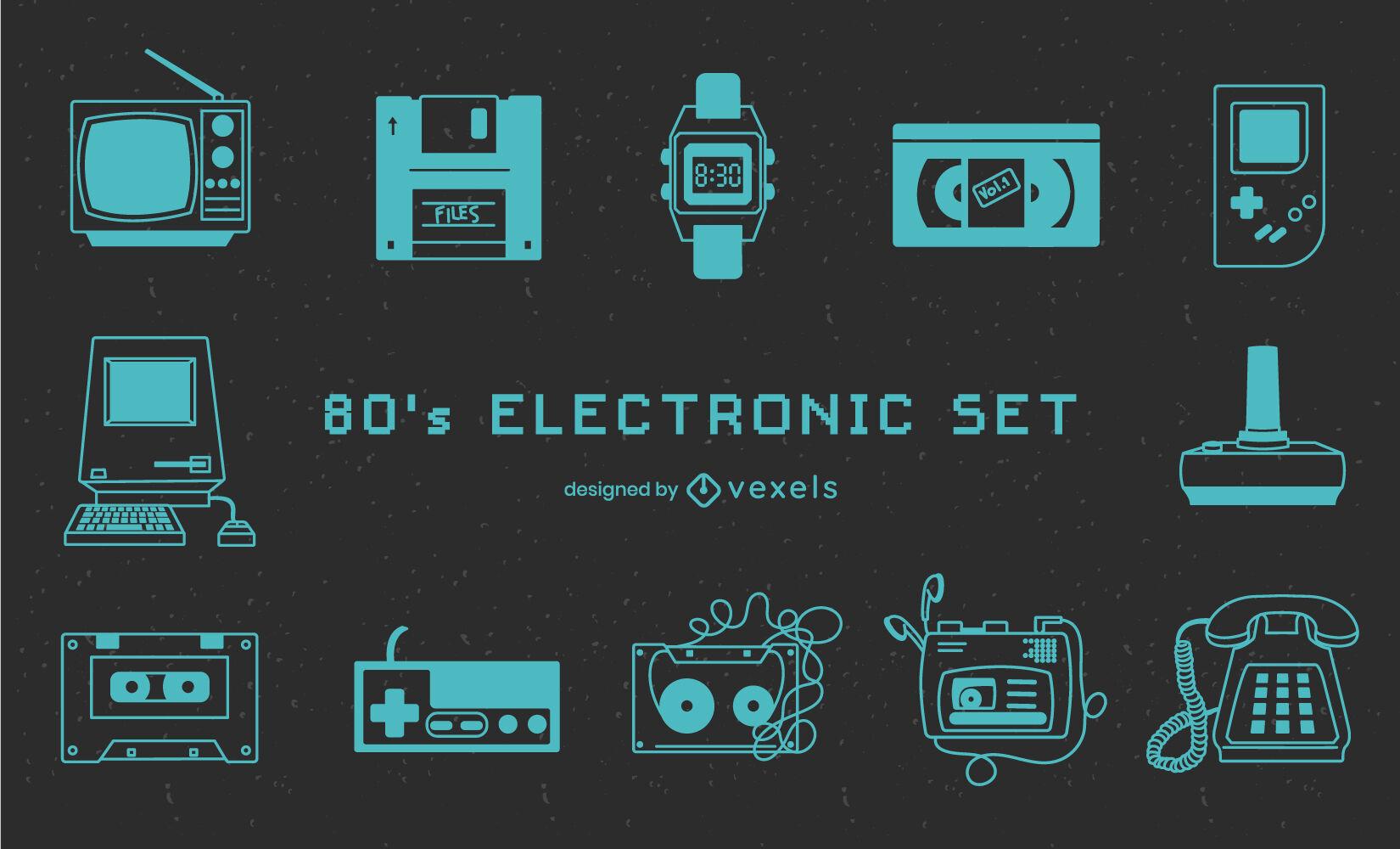Conjunto de tecnología de dispositivos electrónicos de los años 80.
