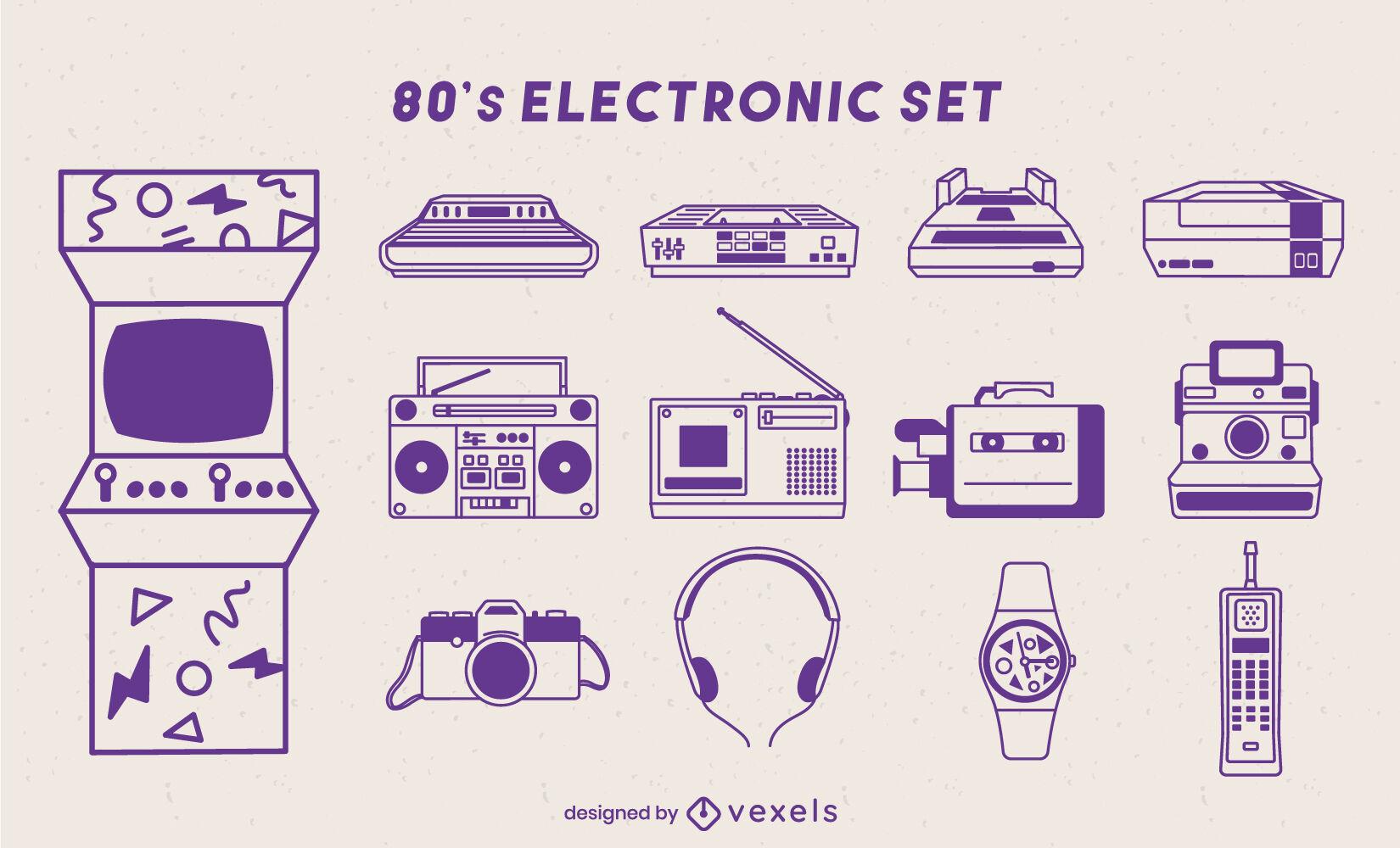 Conjunto de elementos de tecnología electrónica de los 80.