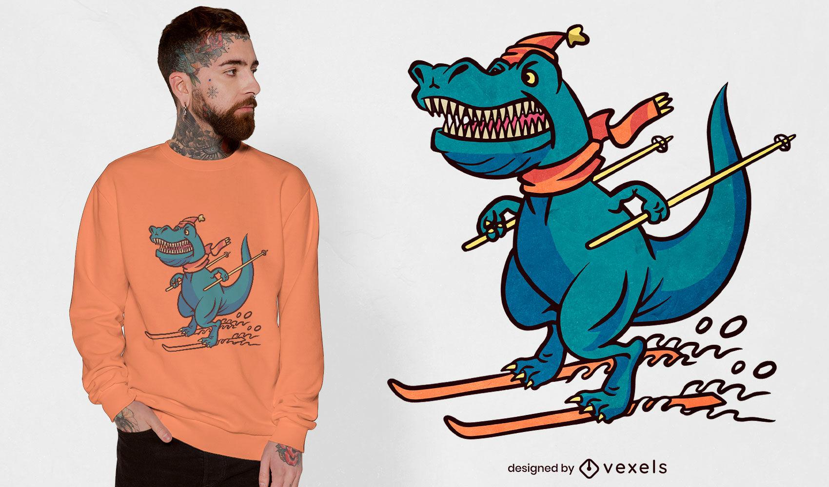 Design de camiseta de dinossauro esquiando