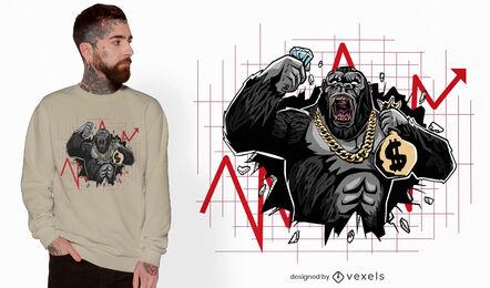 Diseño de camiseta gorilla crashing market