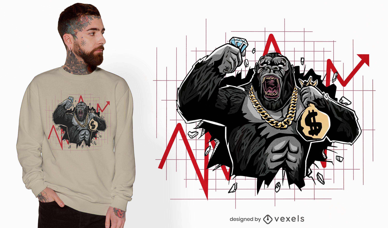 Design de camiseta do Gorilla quebrando o mercado