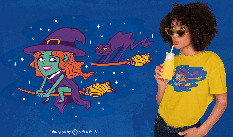Diseño de camiseta de dibujos animados lindo bruja volando