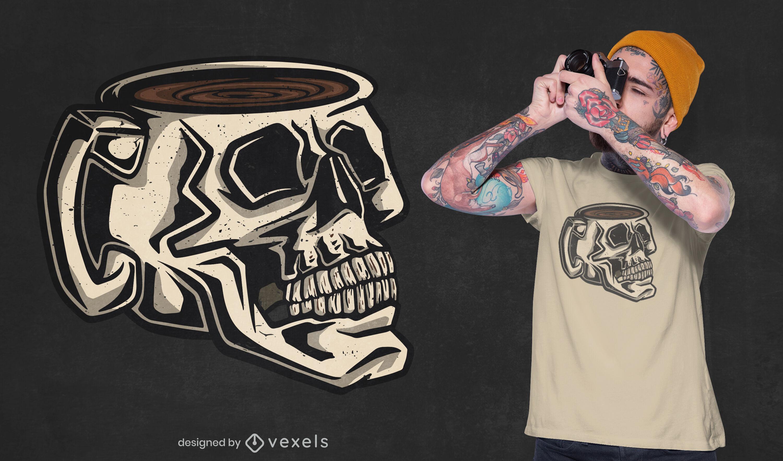 Totenkopf Tasse Kaffeegetränk T-Shirt Design