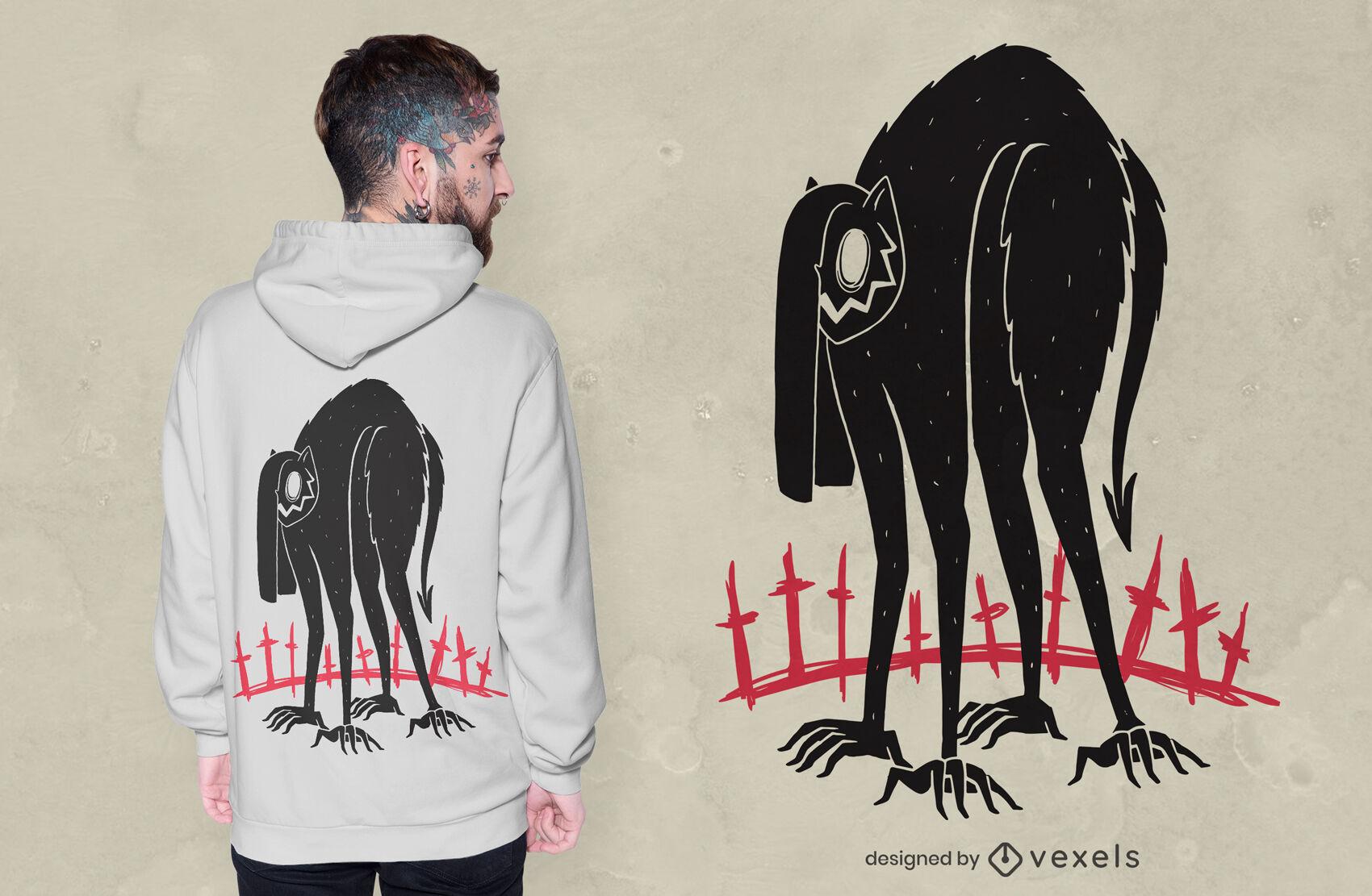 Design de t-shirt do Dia das Bruxas do monstro do demônio gato