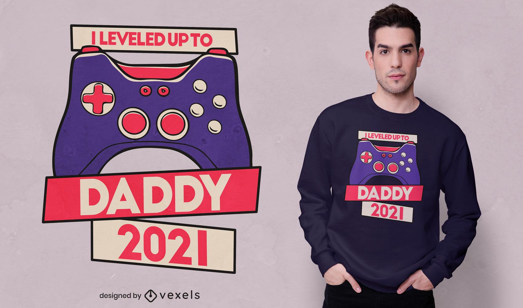 Design de camiseta com joystick de aumento de nível de jogador