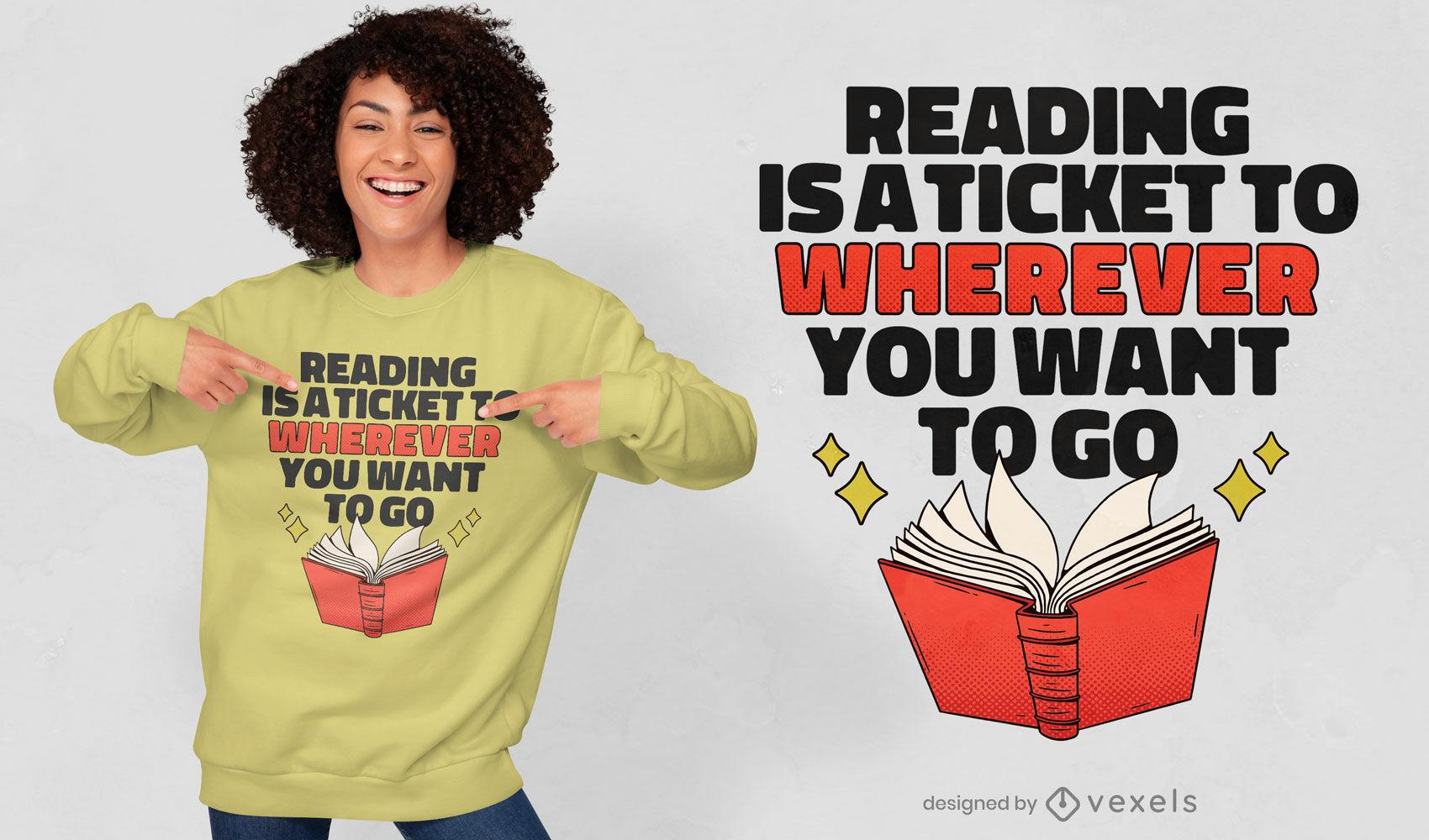 Diseño de camiseta de cita de libro de hobby de lectura