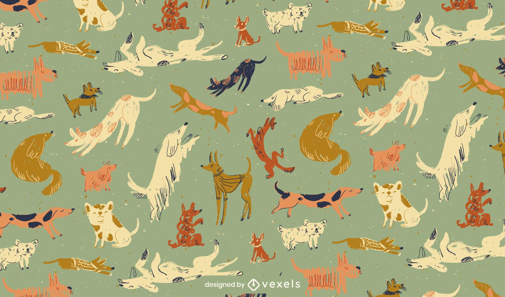 Desenho de padrão de doodle de animais de estimação de raça de cachorro