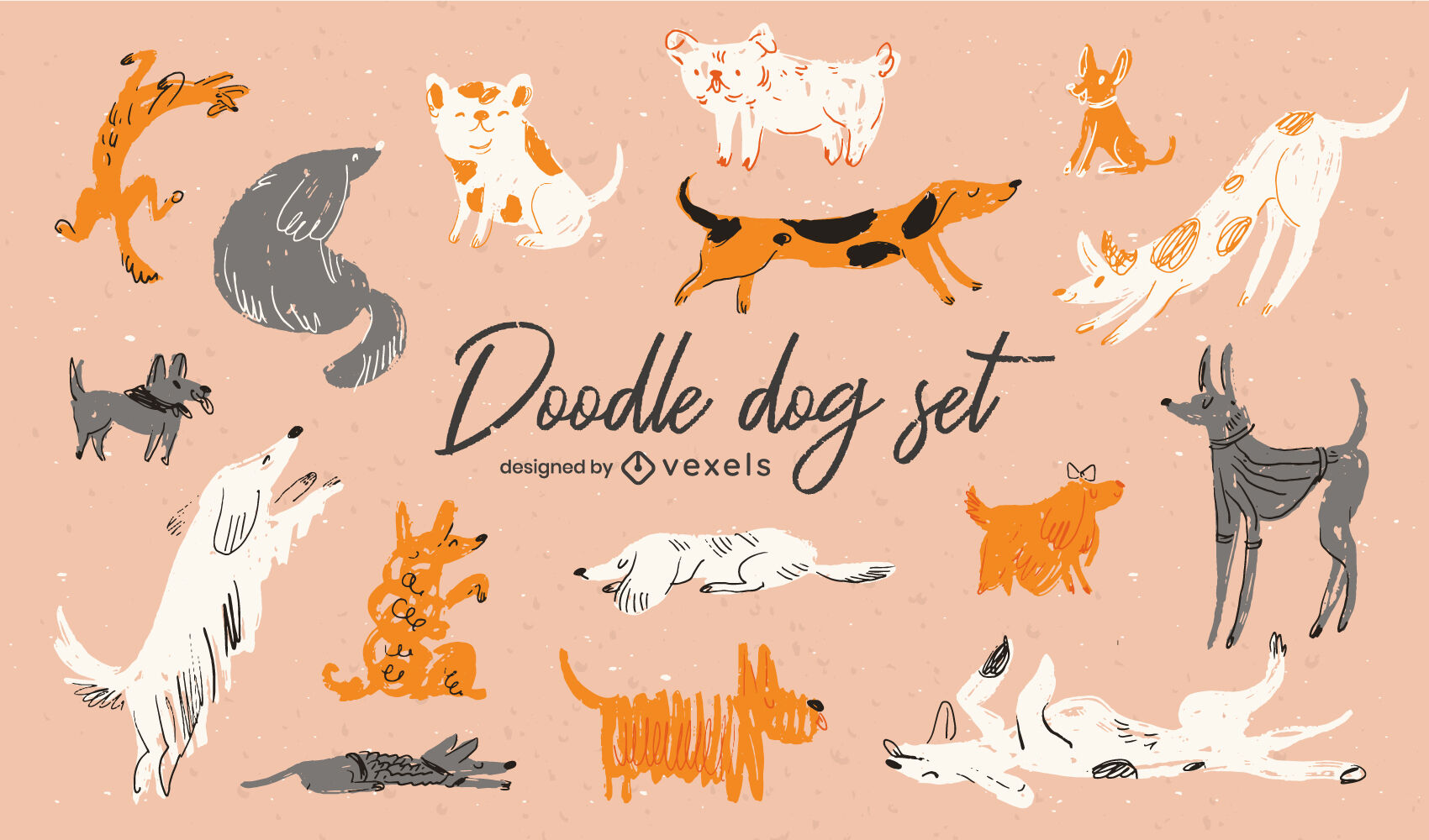 Cute dog breed pets doodle animal set
