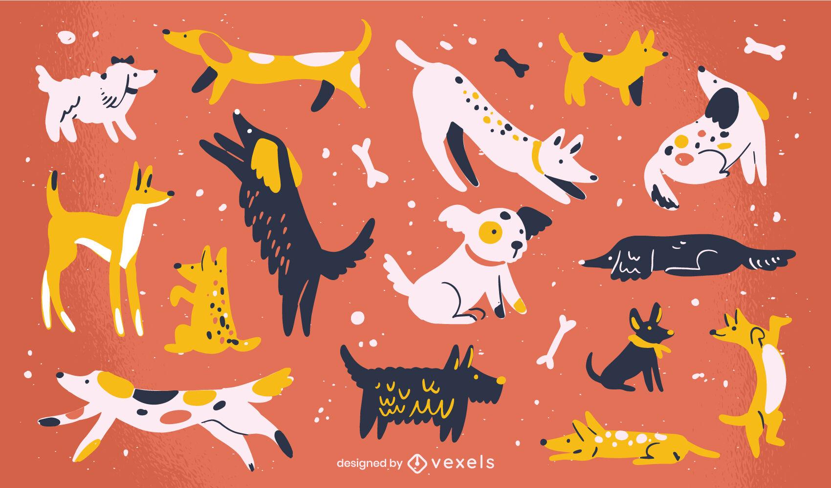 Conjunto de animales planos de mascotas de raza de perro lindo