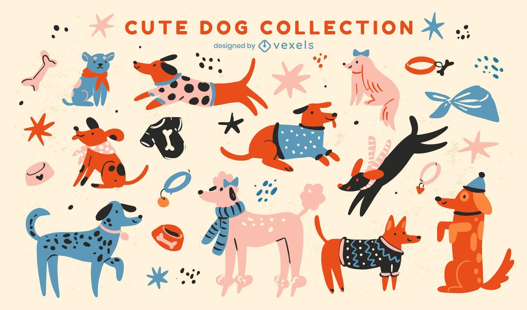 Conjunto de cães fofos e planos