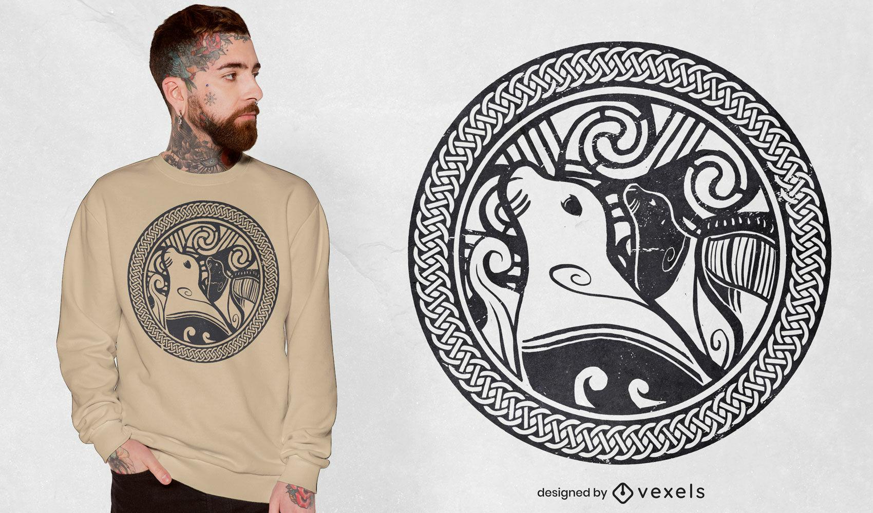Diseño de camiseta de nudo celta de sello