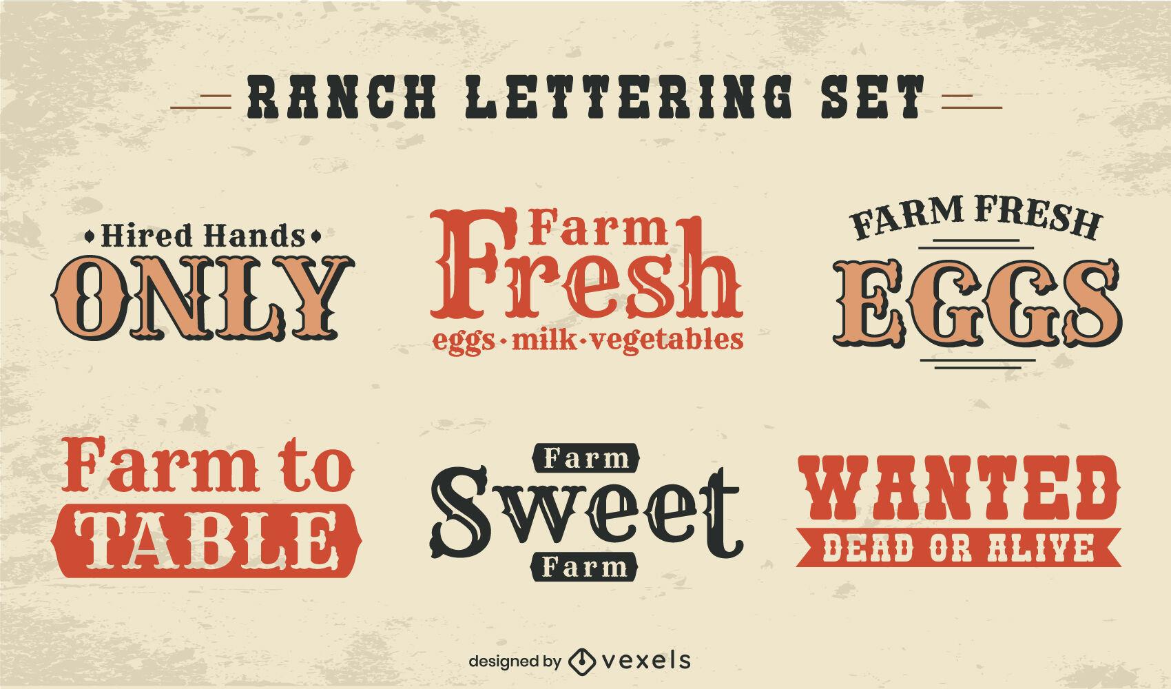 Conjunto de letras de insignia de rancho de alimentos de granja