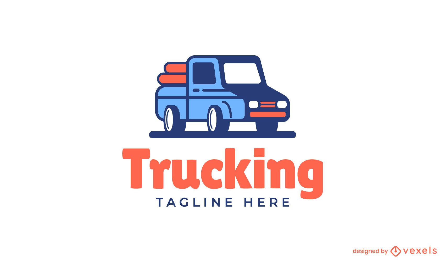 Truck transportation business logo design