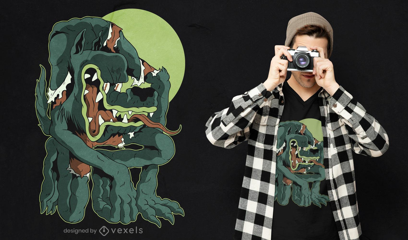 Diseño de camiseta de halloween de dibujos animados de hombre lobo
