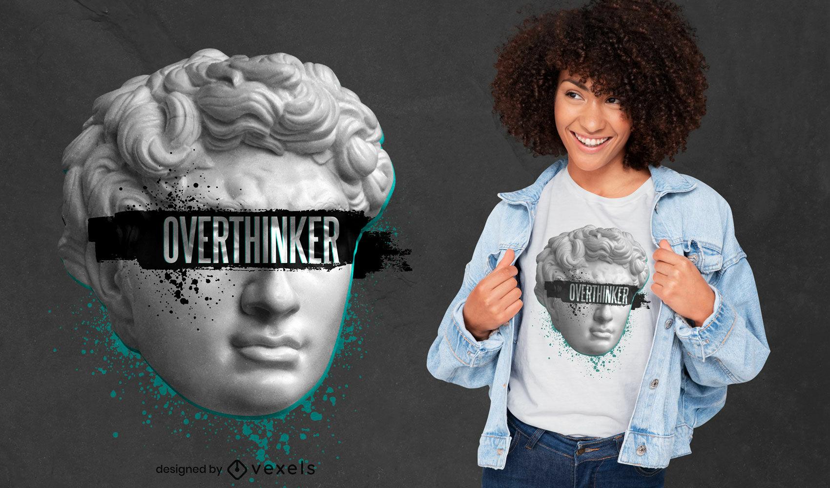 T-shirt PSD estátua Overthinker