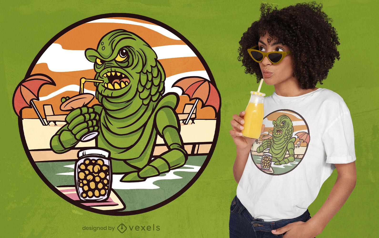 Diseño de camiseta de verano del monstruo del lago ness