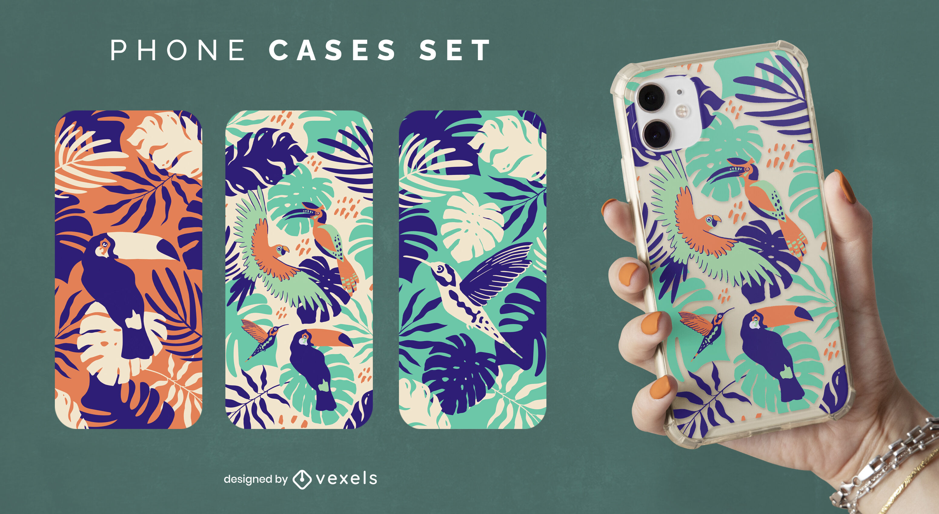 Tropical birds and leaves nature phone case set