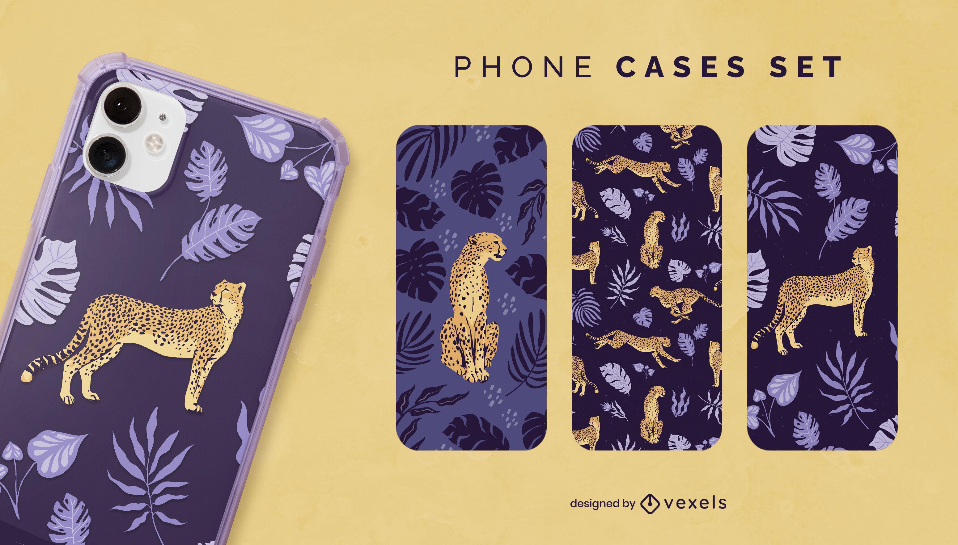 Conjunto de capa de telefone chita na natureza