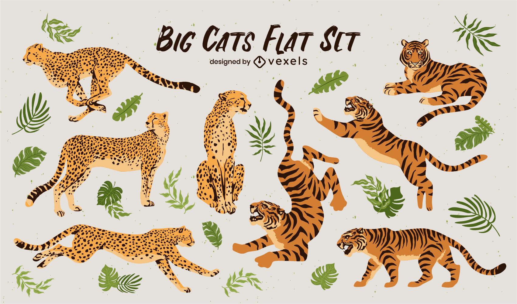 Tigres y guepardos animales planos.