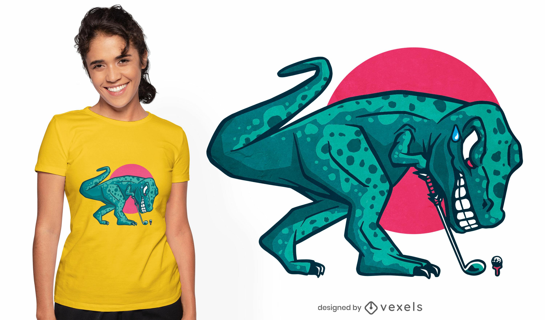 T-rex dinosaur playing golf t-shirt design