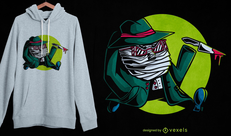 Diseño de camiseta de halloween invisible man killer