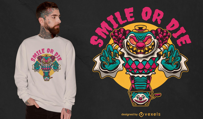 Design de t-shirt de halloween assustador brinquedo palhaço