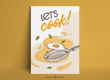 Cooking fried egg food poster design