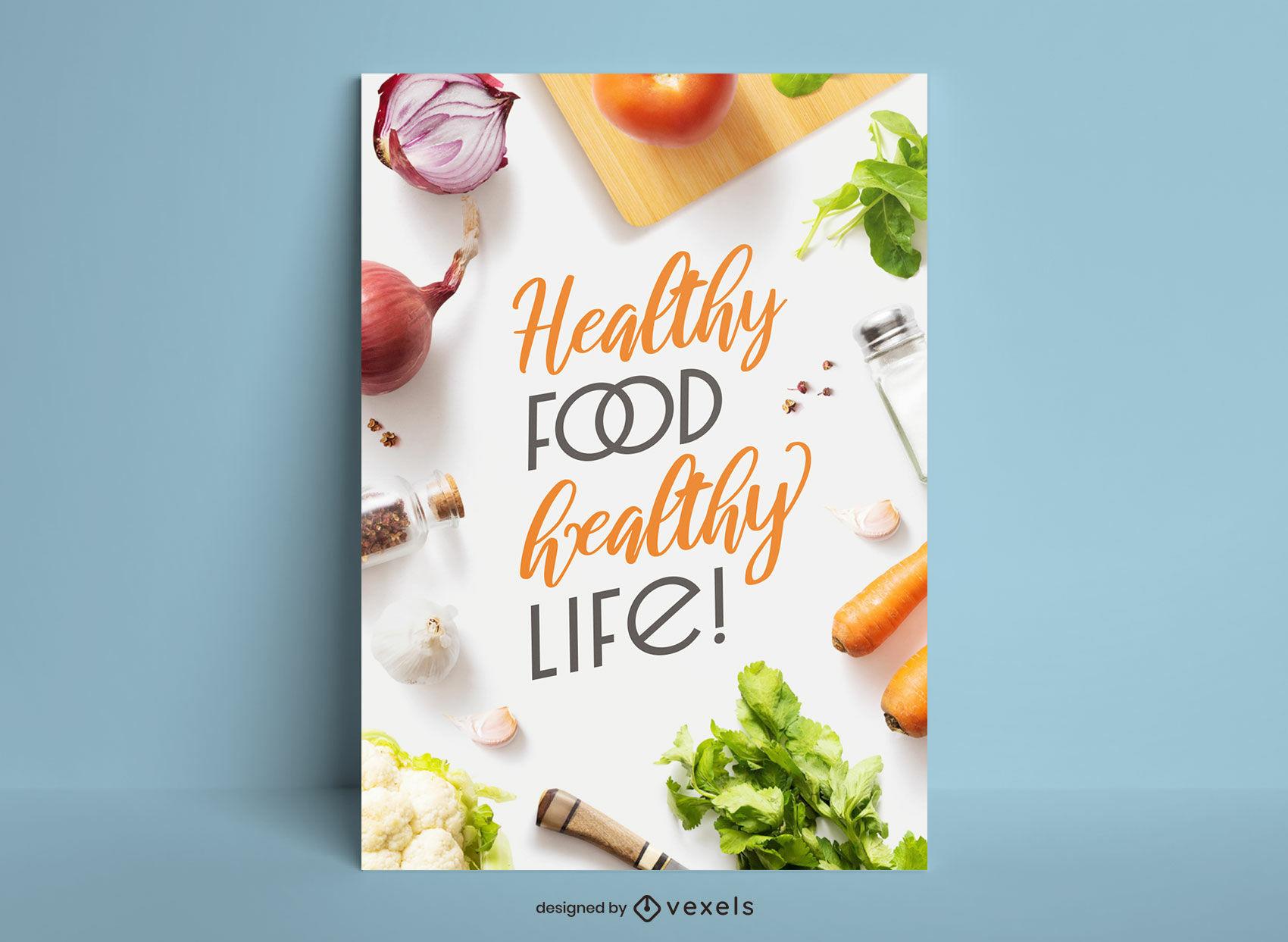 Diseño de carteles de cocina de ingredientes de alimentos saludables