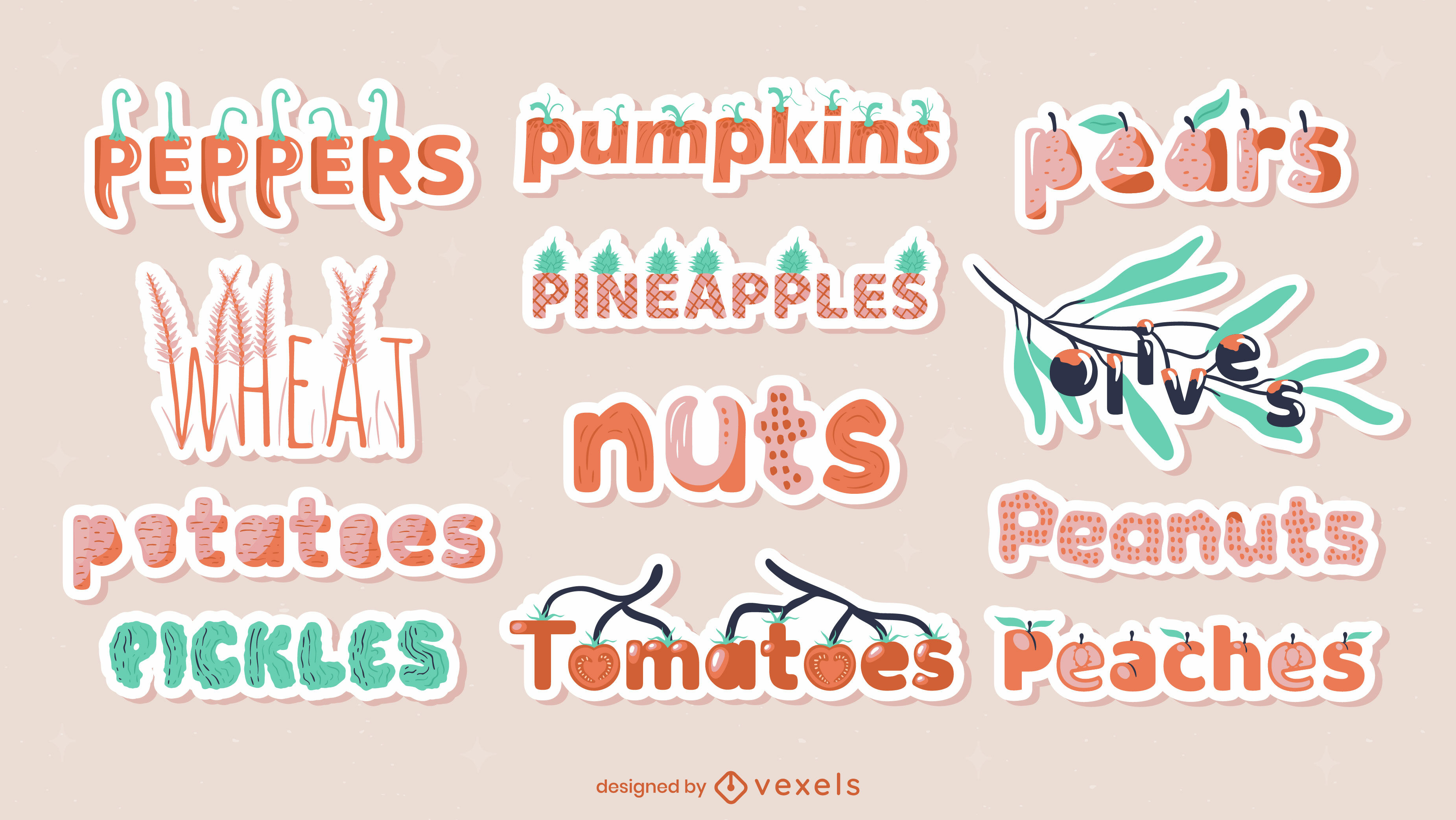 Food ingredients label stickers glossy