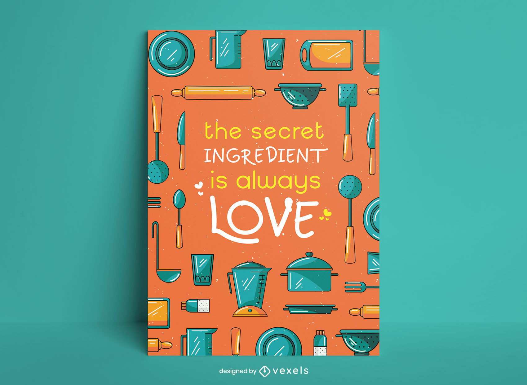 Cooking utensils kitchen poster design