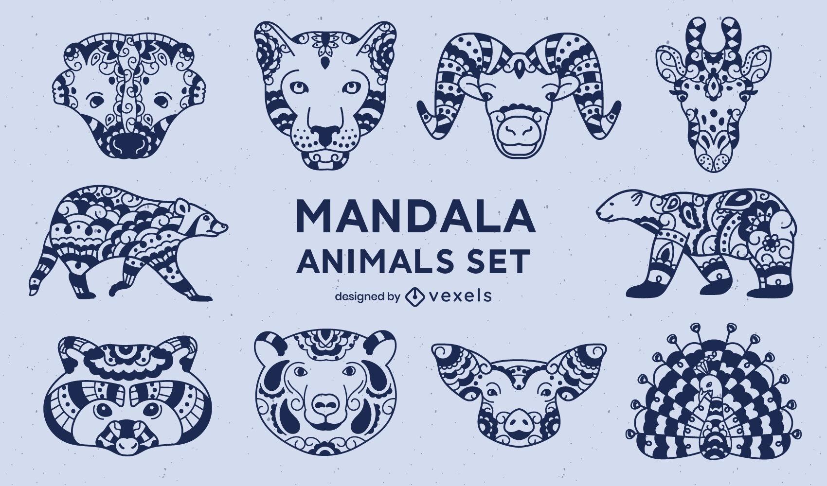 Conjunto de animales en estilo mandala.