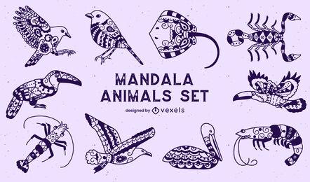 Set of animals in mandala style